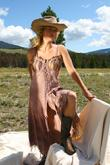 deer suede, silk charmeuse, lacing gown
