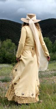deer leather long walking coat