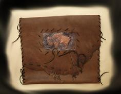 Hand tolled Original art, Leather Laced pouch