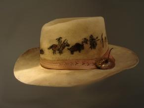 Fur felt, art, leather tooled hatband