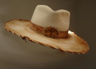 Fur Felt, leather tooled hat band, wood burned art image with leather pencil piping
