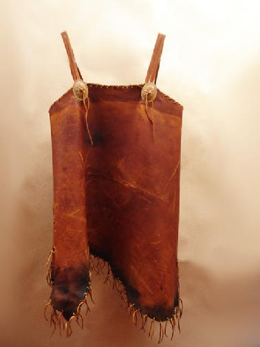 Saddlewrap cami with aged deer leather, hand laced
