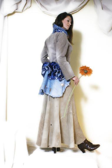 Denim, silk brocade bustle, jacket